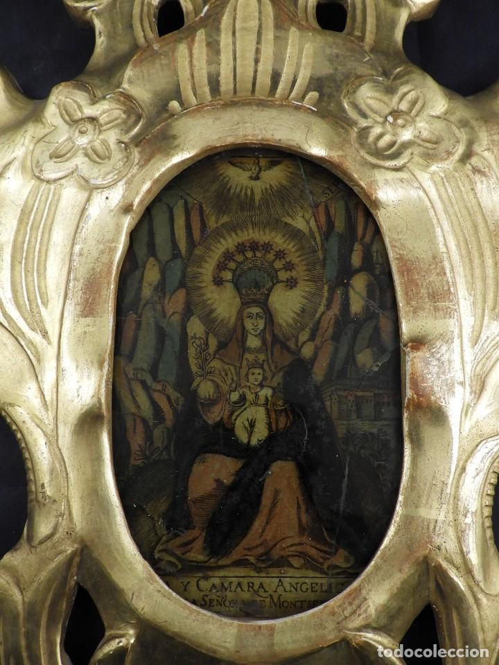 Antigüedades: CORNUCOPIA VIRGEN DE MONSERRAT IMAGEN EN CRISTAL S. XVIII - Foto 2 - 135825814