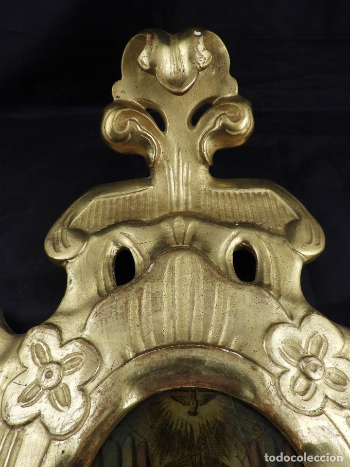 Antigüedades: CORNUCOPIA VIRGEN DE MONSERRAT IMAGEN EN CRISTAL S. XVIII - Foto 3 - 135825814