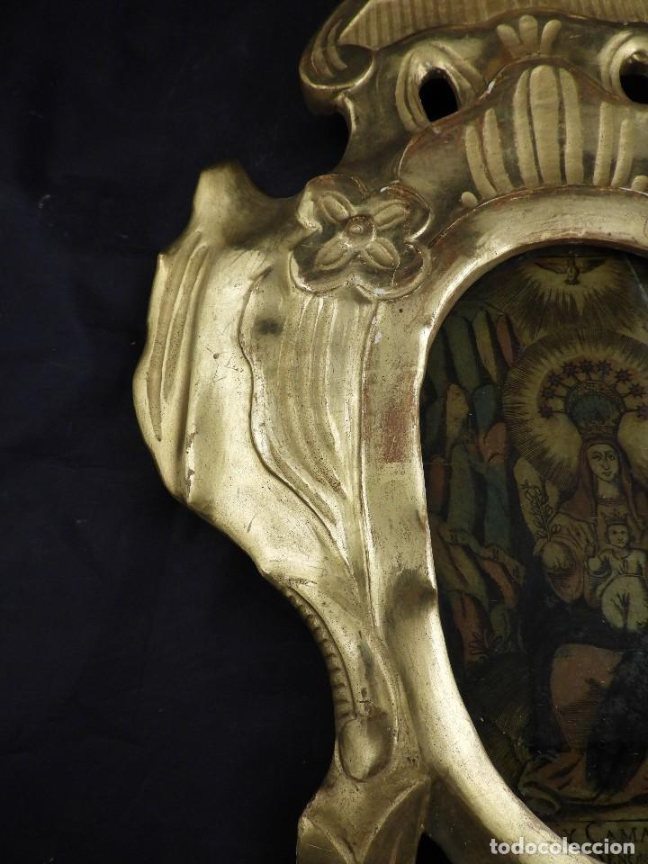 Antigüedades: CORNUCOPIA VIRGEN DE MONSERRAT IMAGEN EN CRISTAL S. XVIII - Foto 4 - 135825814