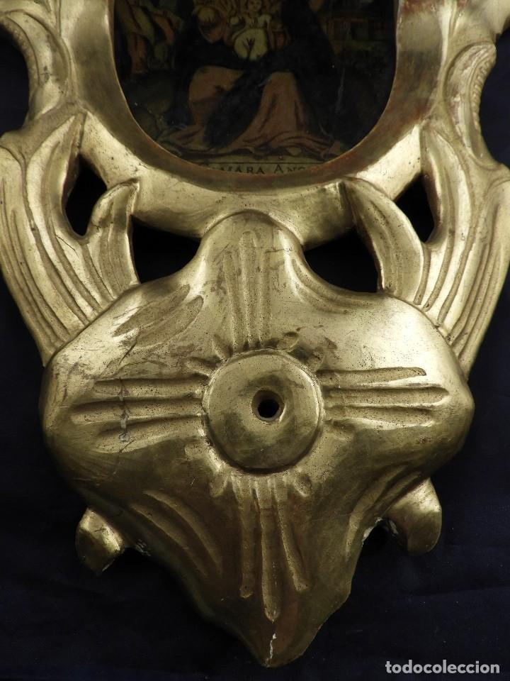 Antigüedades: CORNUCOPIA VIRGEN DE MONSERRAT IMAGEN EN CRISTAL S. XVIII - Foto 6 - 135825814