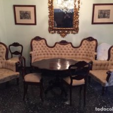 Antigüedades: CONJUNTO ESTILO ISABELINO DE TRESILLO. Lote 135832898