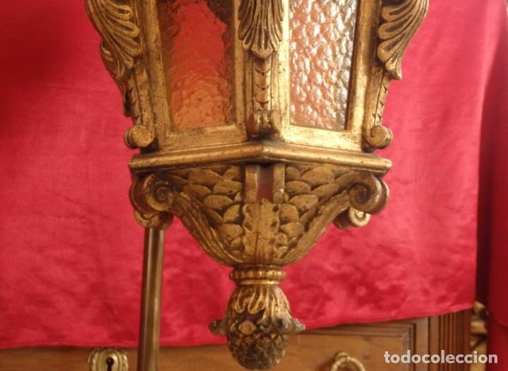 Antigüedades: Farol de techo de estilo barroco en madera tallada y dorada. 63 cm. Hacia 1900. - Foto 6 - 135848010