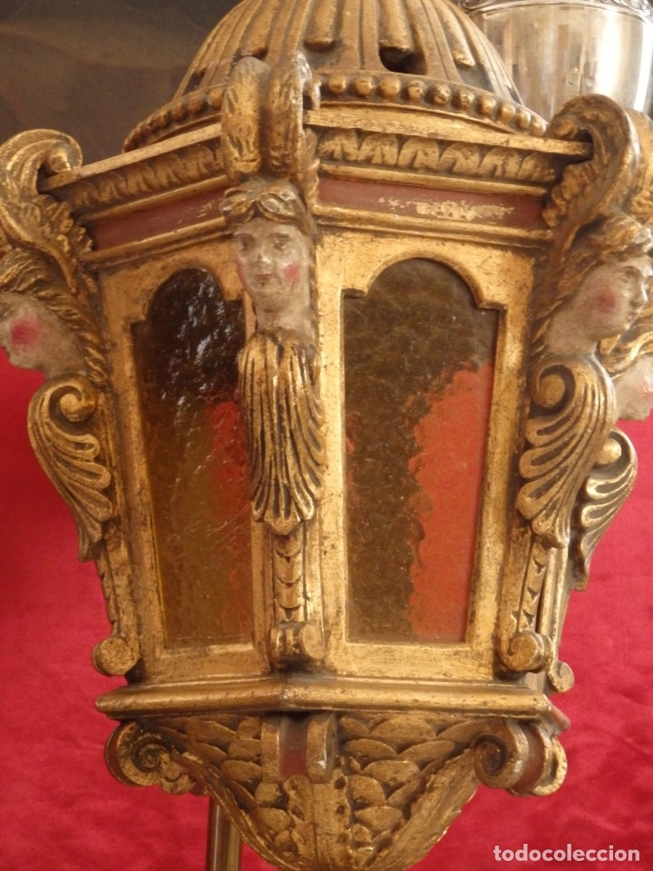 Antigüedades: Farol de techo de estilo barroco en madera tallada y dorada. 63 cm. Hacia 1900. - Foto 7 - 135848010