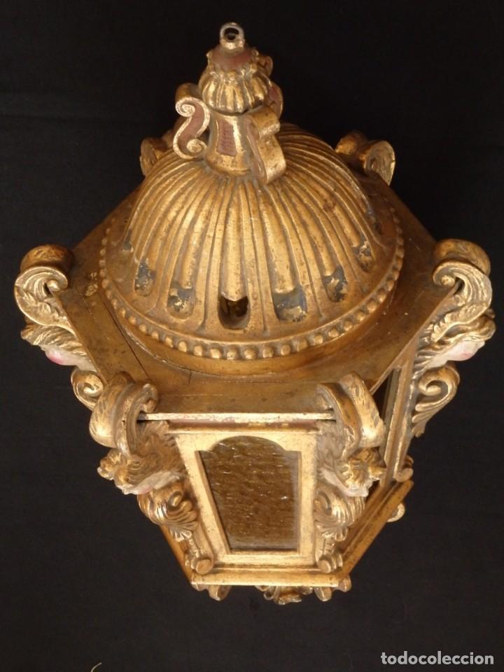 Antigüedades: Farol de techo de estilo barroco en madera tallada y dorada. 63 cm. Hacia 1900. - Foto 8 - 135848010