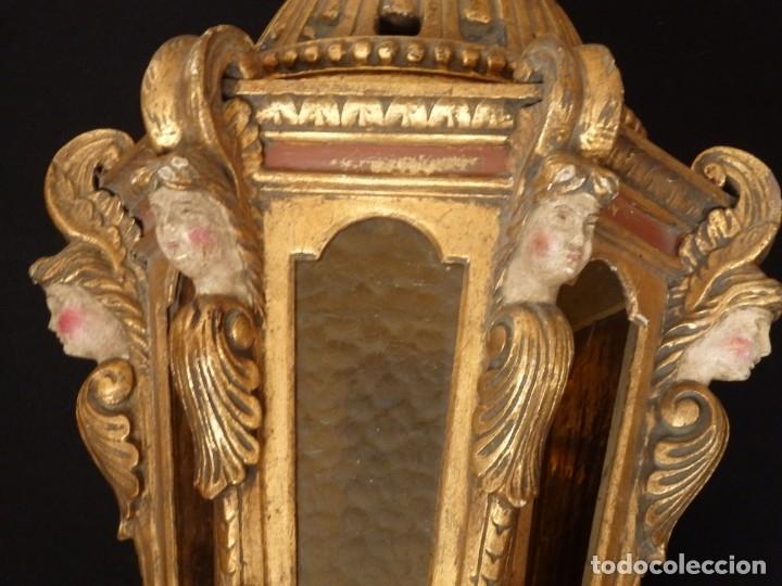 Antigüedades: Farol de techo de estilo barroco en madera tallada y dorada. 63 cm. Hacia 1900. - Foto 10 - 135848010