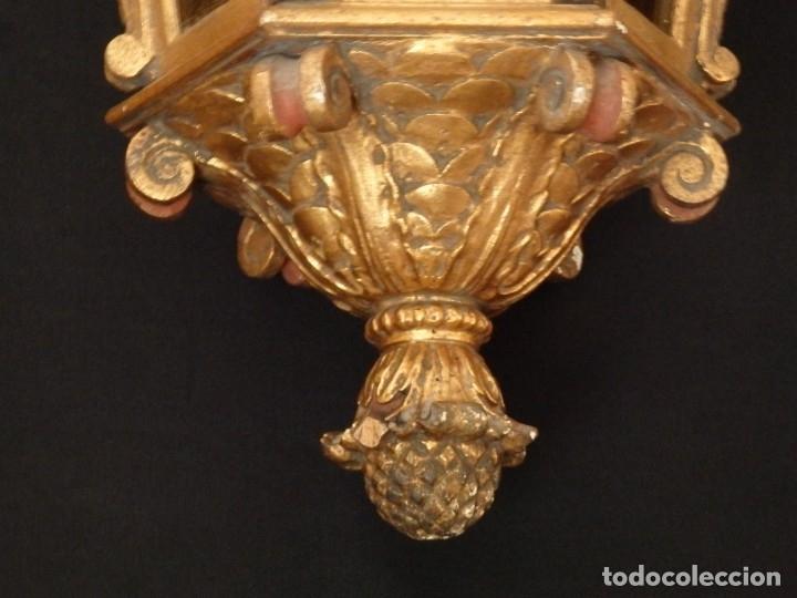 Antigüedades: Farol de techo de estilo barroco en madera tallada y dorada. 63 cm. Hacia 1900. - Foto 11 - 135848010