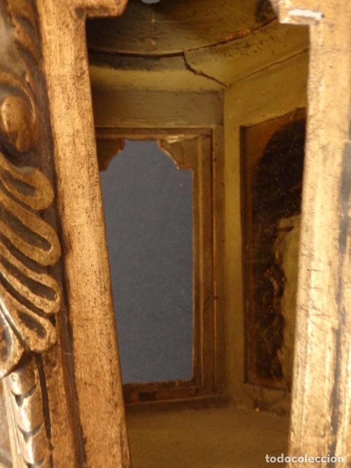 Antigüedades: Farol de techo de estilo barroco en madera tallada y dorada. 63 cm. Hacia 1900. - Foto 13 - 135848010