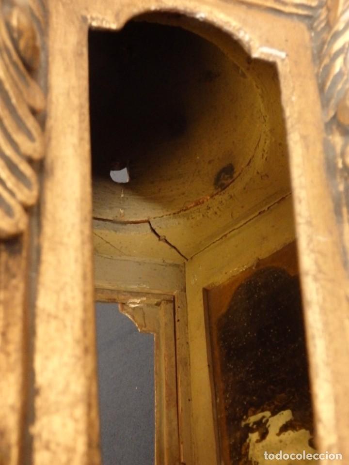 Antigüedades: Farol de techo de estilo barroco en madera tallada y dorada. 63 cm. Hacia 1900. - Foto 14 - 135848010