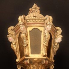 Antigüedades: FAROL DE TECHO DE ESTILO BARROCO EN MADERA TALLADA Y DORADA. 63 CM. HACIA 1900.. Lote 135848010