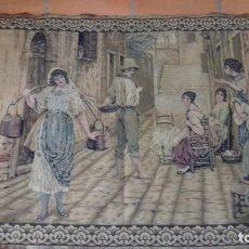 Antiques - ANTIGUO TAPIZ ESCENA COSTUMBRISTA. 115 x 81 cm. - 135868894
