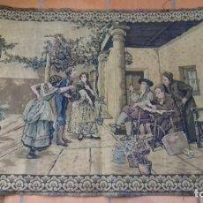 Antiques - ANTIGUO TAPIZ ESCENA COSTUMBRISTA. 115 x 81 cm. - 135869378