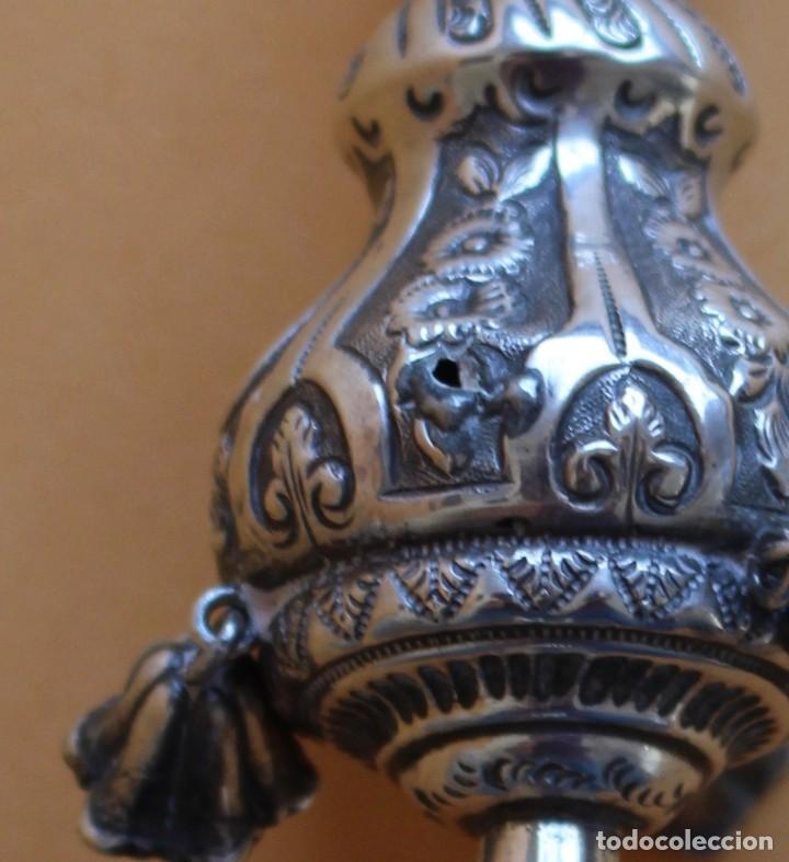 Antigüedades: Sonajero silbato plata con campanillas y mango de marfil o hueso español principios siglo XIX - Foto 5 - 135898514