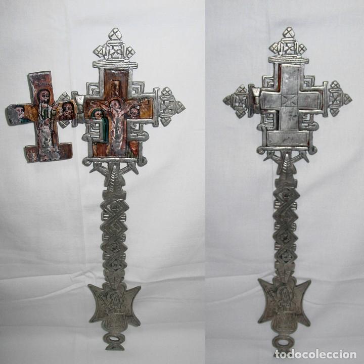 ANTIGUA GRAN CRUZ COPTA CON ICONO. ALEACIÓN CON PLATA O BAÑO DE PLATA SOBRE BRONCE-36,2 X 12 CM (Antigüedades - Religiosas - Cruces Antiguas)
