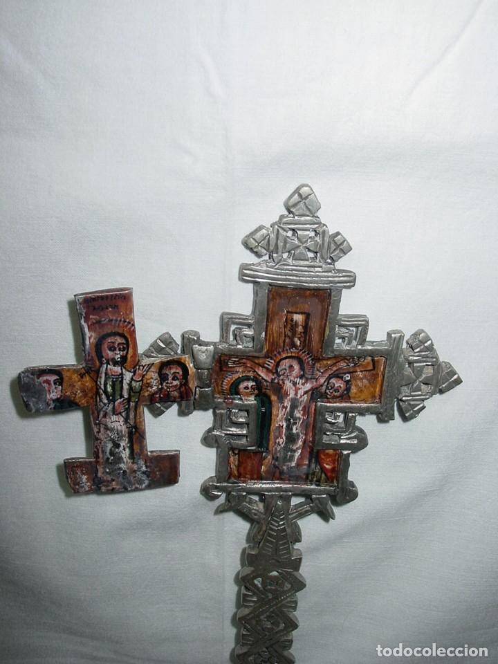 Antigüedades: ANTIGUA GRAN CRUZ COPTA CON ICONO. ALEACIÓN CON PLATA O BAÑO DE PLATA SOBRE BRONCE-36,2 X 12 CM - Foto 10 - 135912282