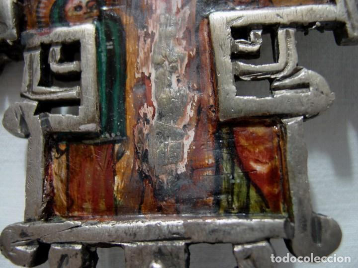 Antigüedades: ANTIGUA GRAN CRUZ COPTA CON ICONO. ALEACIÓN CON PLATA O BAÑO DE PLATA SOBRE BRONCE-36,2 X 12 CM - Foto 14 - 135912282