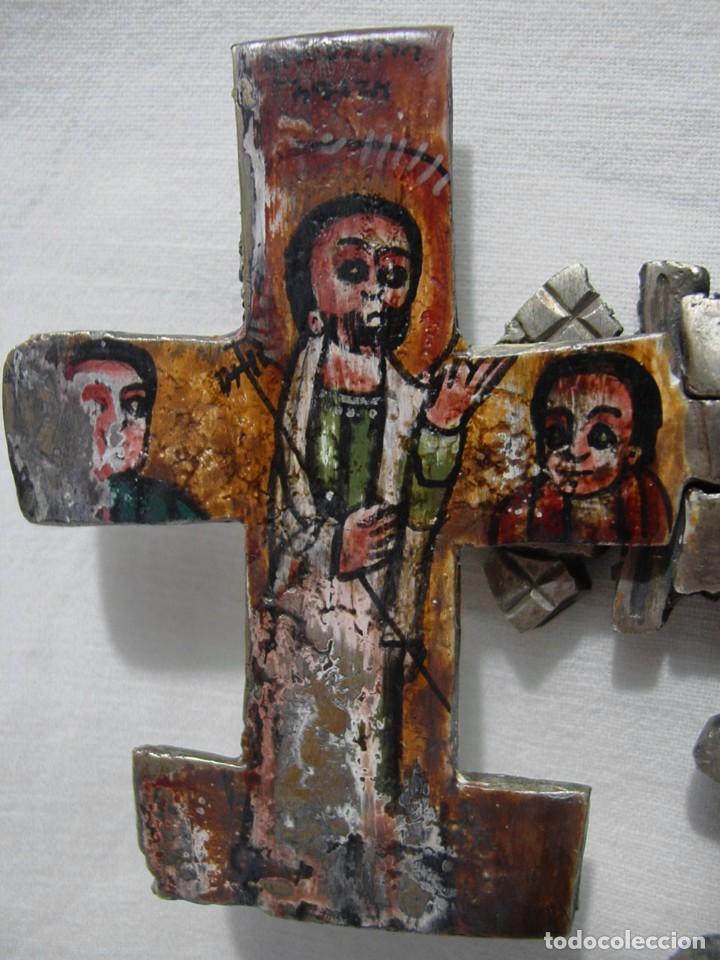 Antigüedades: ANTIGUA GRAN CRUZ COPTA CON ICONO. ALEACIÓN CON PLATA O BAÑO DE PLATA SOBRE BRONCE-36,2 X 12 CM - Foto 15 - 135912282