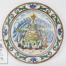 Antigüedades: ANTIGUO PLATO DE CERÁMICA VIDRIADA FIRMADO POR MODEST DE CASADEMUNT, SABADELL - VIRGEN DE MONTSERRAT. Lote 136004018