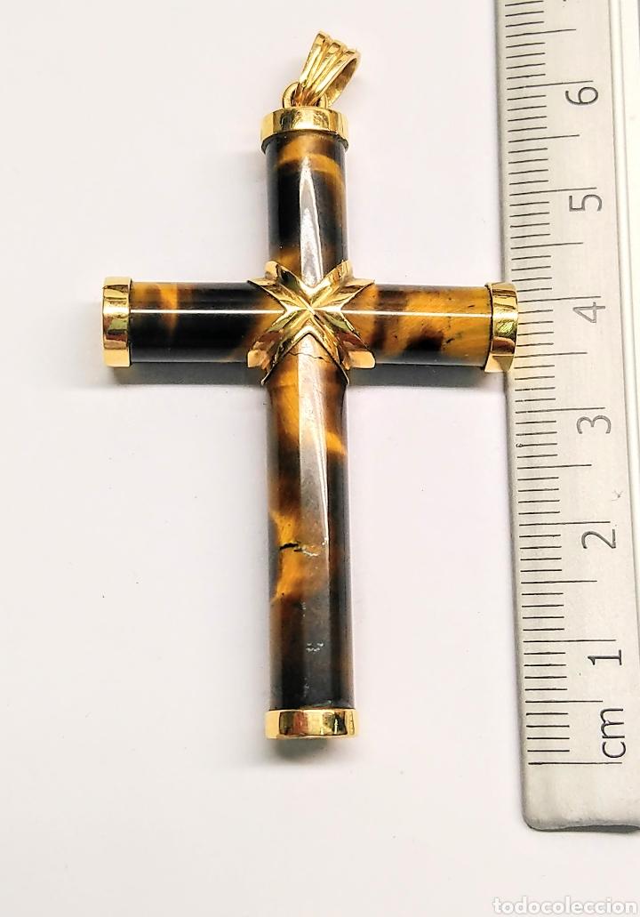 CRUZ OJO DE TIGRE Y ORO 18K (Antigüedades - Religiosas - Cruces Antiguas)