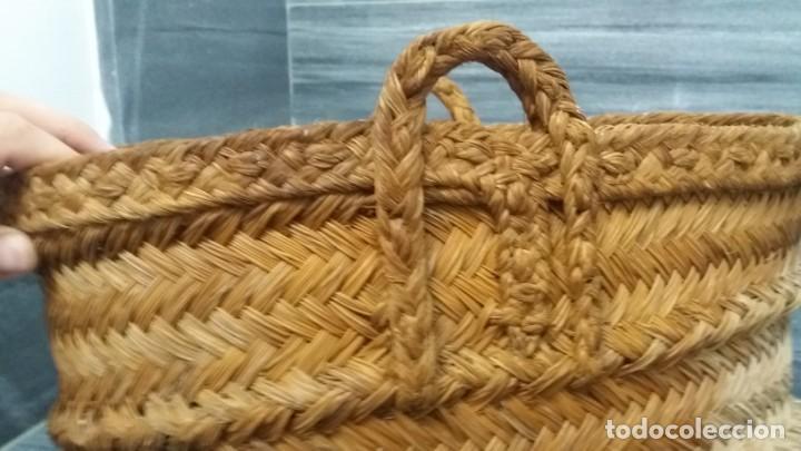 Antigüedades: Antigua BOLSO CESTA DE ESPARTO espuerta capazo para fruta campo agricultura ecológica - Foto 2 - 136039518