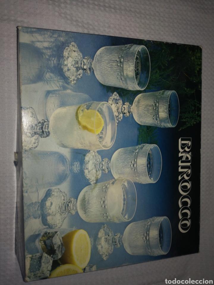 MAGNIFICA CAJA CON JUEGO DE 6 COPAS DE AGUA DE LA MARCA ITALIANA BAROCCO (Antigüedades - Cristal y Vidrio - Italiano)