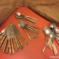 Antigüedades: EXCEPCIONAL LOTE DE CUBERTERIA CON EL MANGO EN COBRE O BRONCE. PIEZAS EXCLUSIVAS Y ORIGINALES.. Lote 136104350