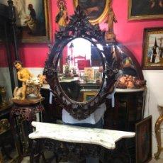 Antigüedades: ELEGANTE CONJUNTO ESPEJO Y CONSOLA MADERA Y TAPA DE MARMOL -. Lote 136125946