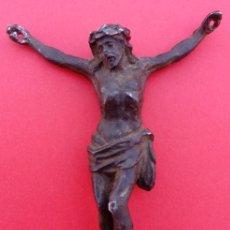 Antigüedades: CRUCIFICADO DE PLOMO S. XVIII. 8.750 CMS DE ALTO.. Lote 136130974