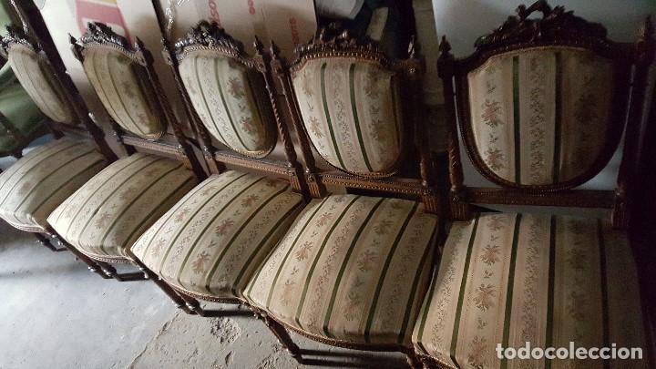 Antigüedades: 5 SILLAS ISABELINAS Y TRESILLO - Foto 2 - 67038790