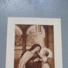Antigüedades: ESTAMPA RELIGIOSA AÑOS 30 - SANTA TERESA JESUS - TELA TOCADA A SU CUERPO VIRGINAL - SELLO CARMELITAS. Lote 136238582