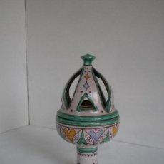 Antigüedades: AROMATIZADOR DE CERAMICA ARTESANAL ANDALUSI DE ALYARRAR GRANADA // 20X9,5CM //. Lote 136271822