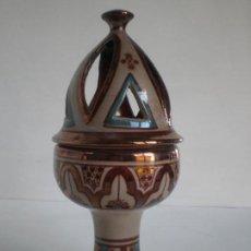 Antigüedades: AROMATIZADOR DE CERAMICA ARTESANAL NAZARI ANDALUSI DE ALYARRAR GRANADA // 20X9,5CM //. Lote 136271890
