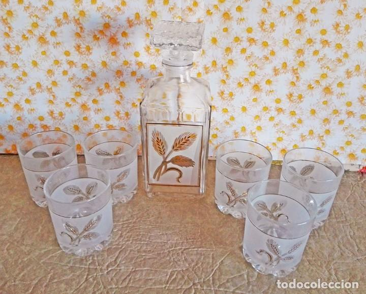 Antigüedades: Juego vasos licor botella whisky licorera Italia Masserini - Foto 3 - 122916535