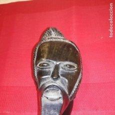 Antigüedades: ESCULTURA DE ARTE AFRICANO EN MADERA DE ÉBANO. CARA HUMANA ÉTNICA. Lote 136300166