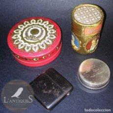 Antigüedades: LOTE ANTIGUAS CAJITAS VARIADAS HECHAS DE CARTÓN, METAL Y HOJALATA, LAS CAJAS ESTÁN EN BUEN ESTADO. Lote 110956743