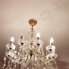 Antigüedades: LAMPARA DE LAGRIMAS DE CRISTAL AUSTRIACO. Lote 136357082