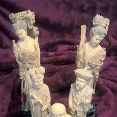 Antigüedades: CONJUNTO DE FIGURAS JAPONESAS ANTIGUAS EN PASTA DE MARFIL. Lote 136374806