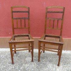Antigüedades: ANTIGUA PAREJA DE SILLAS DE ROBLE. RESTAURADAS.. Lote 136394574