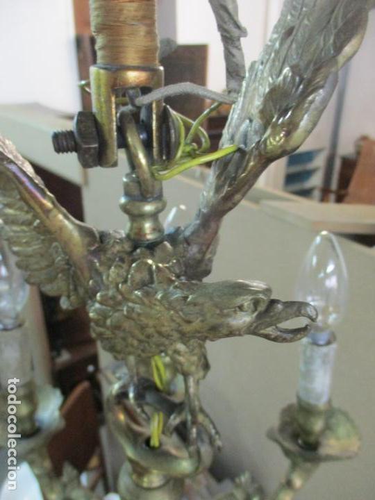 Antigüedades: Lámpara de Techo - Bronce Cincelado - 6 Luces - Decoración con Águila - Funciona - Foto 14 - 136445622