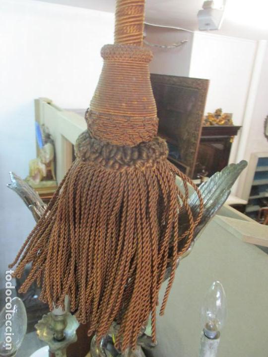 Antigüedades: Lámpara de Techo - Bronce Cincelado - 6 Luces - Decoración con Águila - Funciona - Foto 18 - 136445622