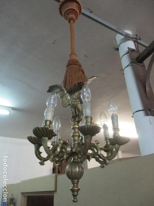 Antigüedades: Lámpara de Techo - Bronce Cincelado - 6 Luces - Decoración con Águila - Funciona - Foto 21 - 136445622