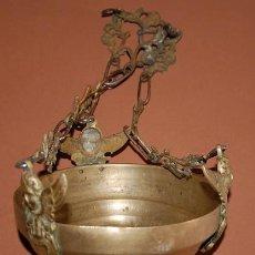 Antigüedades: LAMPARA VOTIVA EN LATON Y BRONCE SIGLO XIX. Lote 136446410