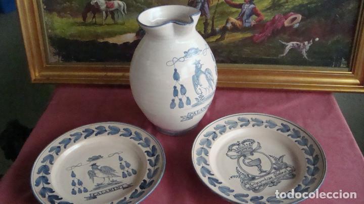 TRES PIEZAS A JUEGO DE LOZA ESPAÑA. (Antigüedades - Porcelanas y Cerámicas - Otras)