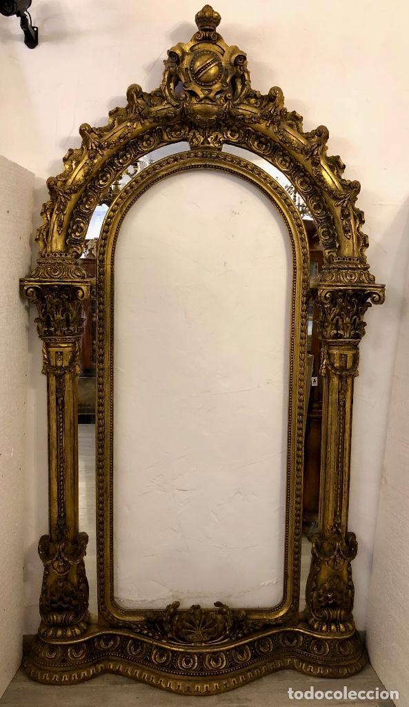 Antigüedades: ESPECTACULAR ESPEJO ANTIGUO EN MADERA TALLADA - Foto 12 - 208186791