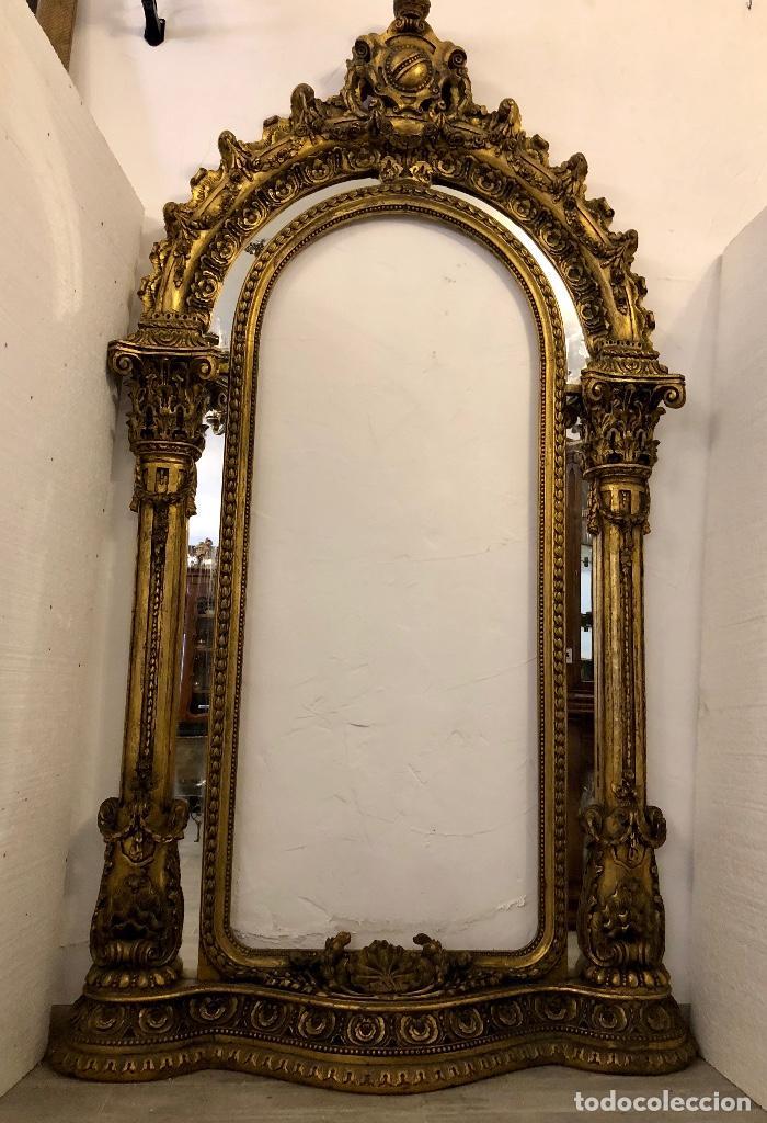 Antigüedades: ESPECTACULAR ESPEJO ANTIGUO EN MADERA TALLADA - Foto 13 - 208186791
