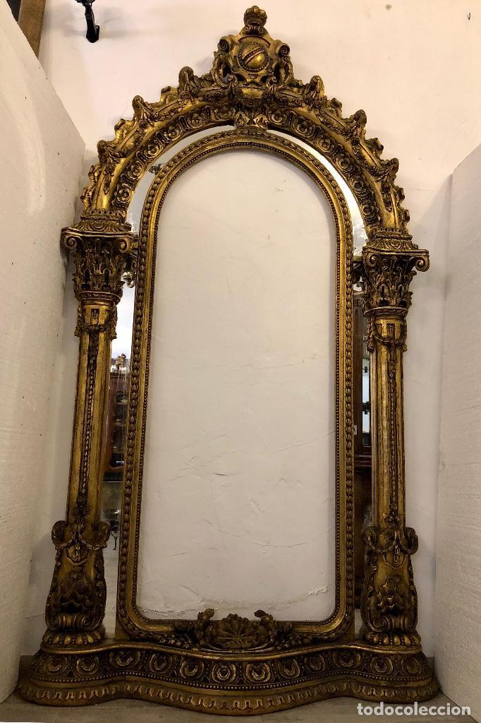 Antigüedades: ESPECTACULAR ESPEJO ANTIGUO EN MADERA TALLADA - Foto 2 - 208186791