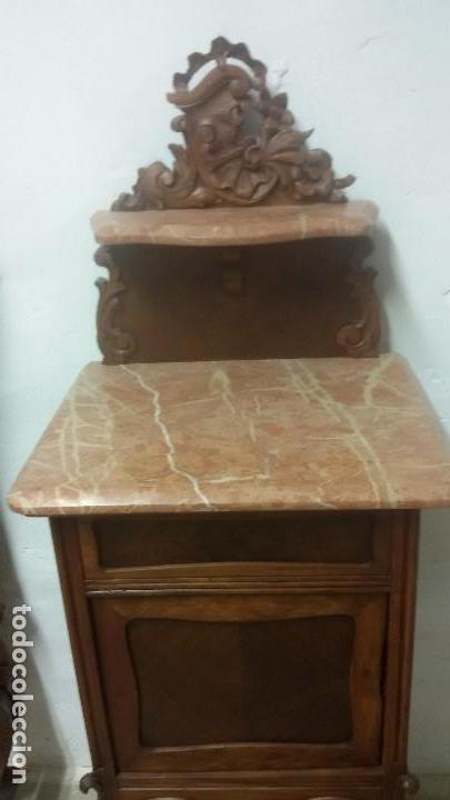 JUEGO DE CAMA Y MESILLA (Antigüedades - Muebles Antiguos - Camas Antiguas)