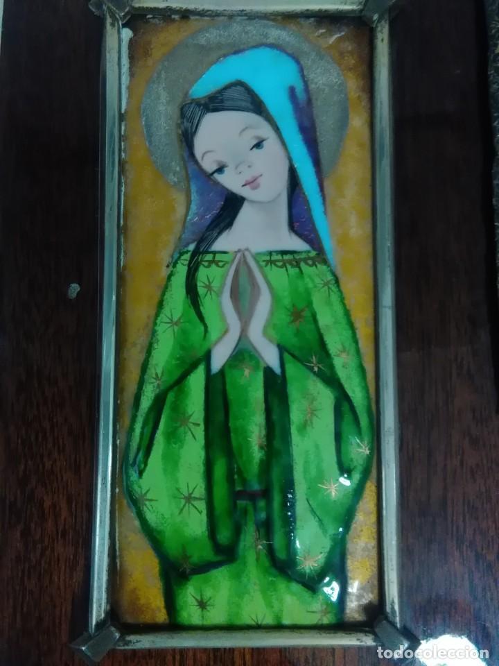 Antigüedades: Virgen de esmalte 18x7ctms y plata 925 total 30x20 ctms - Foto 3 - 136514378