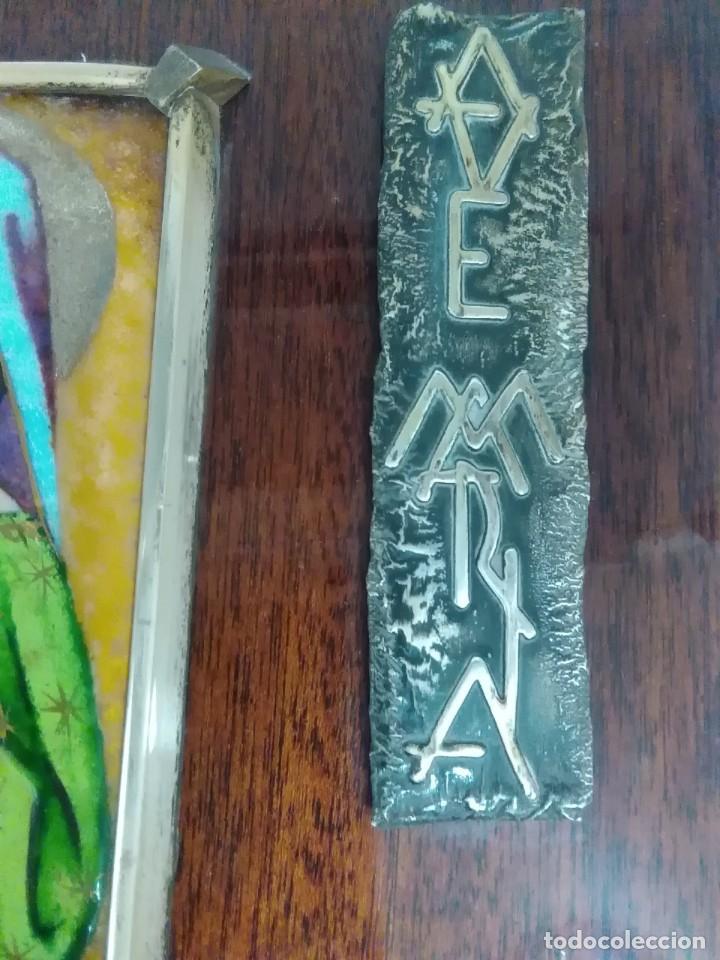 Antigüedades: Virgen de esmalte 18x7ctms y plata 925 total 30x20 ctms - Foto 4 - 136514378