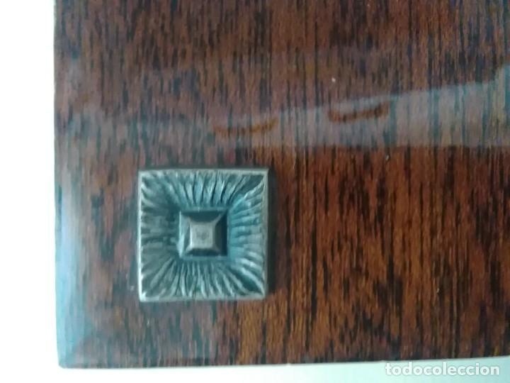 Antigüedades: Virgen de esmalte 18x7ctms y plata 925 total 30x20 ctms - Foto 7 - 136514378