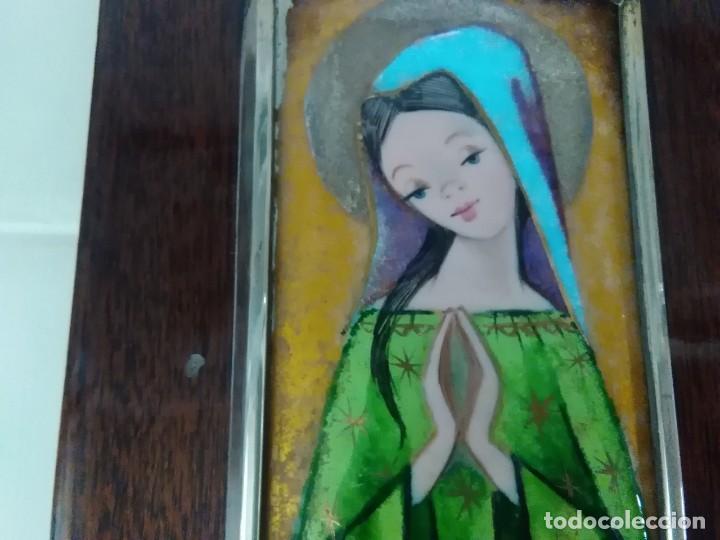 Antigüedades: Virgen de esmalte 18x7ctms y plata 925 total 30x20 ctms - Foto 8 - 136514378